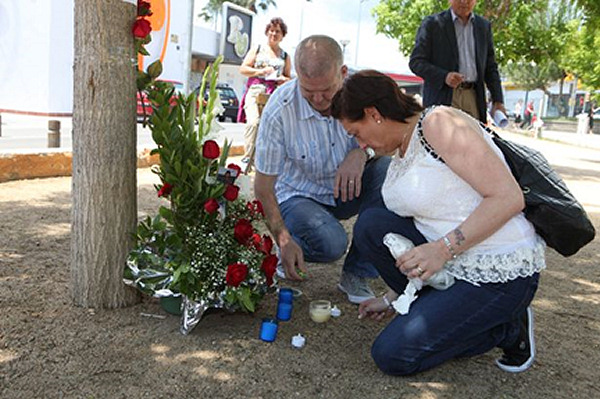 A year later, Craig's parents visited the scene to grieve for their son.